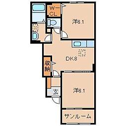 和歌山県岩出市相谷の賃貸アパートの間取り