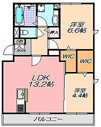 兵庫県神戸市北区北五葉5丁目の賃貸アパートの間取り