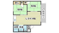兵庫県姫路市夢前町菅生澗の賃貸アパートの間取り