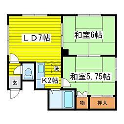北海道札幌市東区北二十四条東14丁目の賃貸アパートの間取り