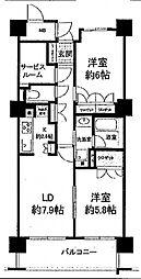 エル・セレーノ上本町レジデンス(Kタイプ)[8階]の間取り