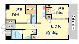 兵庫県神戸市中央区磯上通3丁目の賃貸マンションの間取り