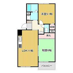 岡田山ハイツ A棟[301号室号室]の間取り