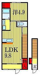 JR総武線 船橋駅 徒歩21分の賃貸アパート 2階1LDKの間取り