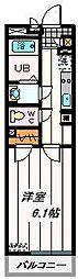 JR京浜東北・根岸線 西川口駅 徒歩19分の賃貸マンション 4階1Kの間取り