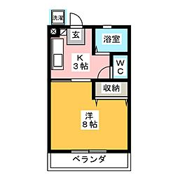 アクティ三田 西棟 2階1Kの間取り