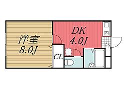 京成本線 公津の杜駅 徒歩27分の賃貸アパート 1階1DKの間取り