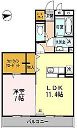 東京都日野市万願寺4丁目の賃貸マンションの間取り