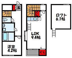 JR鹿児島本線 古賀駅 徒歩9分の賃貸アパート 2階1LDKの間取り