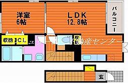 岡山県岡山市中区倉益の賃貸アパートの間取り