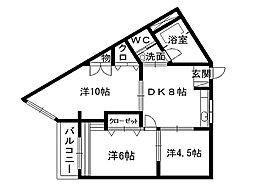 福岡県北九州市小倉南区下城野2丁目の賃貸マンションの間取り
