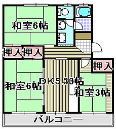 佐野湊団地[2-408号室]の間取り