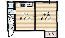 ライズワン阿倍野3[203号室]の間取り