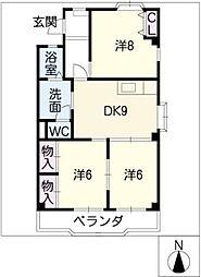 パークハイツ愛成EAST・WEST[3階]の間取り
