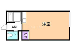 コーポ東園6 2階ワンルームの間取り