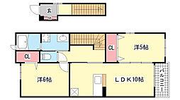 兵庫県西宮市山口町中野の賃貸アパートの間取り