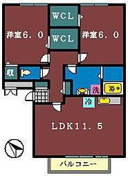 パークサイド西船 A棟[207号室]の間取り