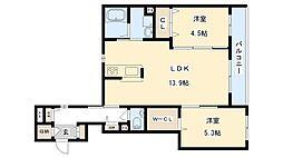 (仮)旭区シャーメゾン清水1丁目 3階2LDKの間取り