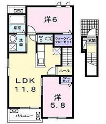 JR鹿児島本線 田代駅 萱方下車 徒歩3分の賃貸アパート 2階2LDKの間取り