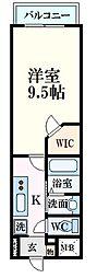 広島電鉄5系統 比治山橋駅 徒歩10分の賃貸マンション 4階1Kの間取り