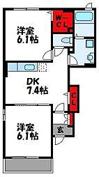メゾンドソレイユK[1階]の間取り