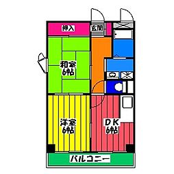 フローレス竹下II[4階]の間取り