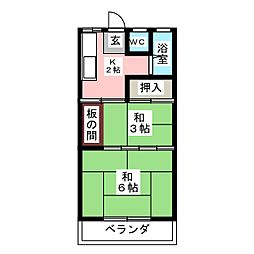 グリンマンション[2階]の間取り