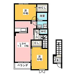 プライムコートB[2階]の間取り