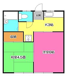 第2肥田野コーポ[2階]の間取り