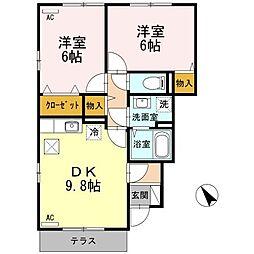 広島県三原市本郷町船木の賃貸アパートの間取り