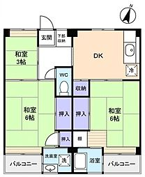 ビレッジハウス勝田2号棟[2階]の間取り
