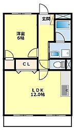 愛知県豊田市宮上町2丁目の賃貸アパートの間取り