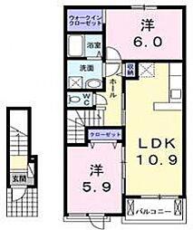 フィオーレ1番館[2階]の間取り