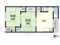 第一源氏之荘 2階2DKの間取り