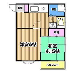 東京都小平市上水新町1丁目の賃貸アパートの間取り