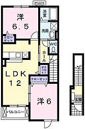 兵庫県姫路市別所町北宿の賃貸アパートの間取り