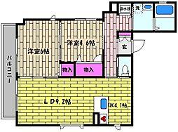 兵庫県芦屋市親王塚町の賃貸アパートの間取り