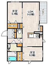 阪急箕面線 桜井駅 徒歩13分の賃貸アパート 1階2LDKの間取り