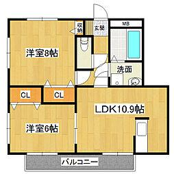 サンガーデン宮本D棟[3階]の間取り