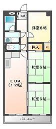 グランメール勝田[6階]の間取り