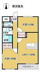 J-003 2階2LDKの間取り