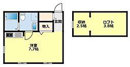 愛知環状鉄道 新豊田駅 徒歩18分の賃貸アパート 2階1Kの間取り