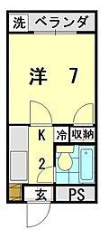 アトリエペールトーン 4階1Kの間取り
