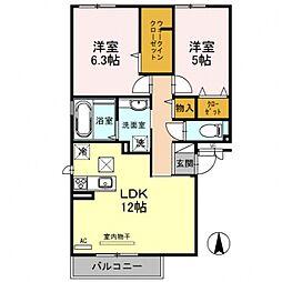 アパートメントy[1O1号室号室]の間取り