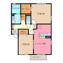 三重県鈴鹿市桜島町5丁目の賃貸アパートの間取り