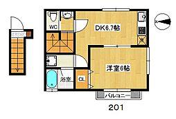 ツインリーフK・II[201号室]の間取り