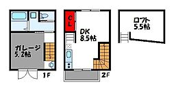 和白東5丁目新築アパート 2階1DKの間取り