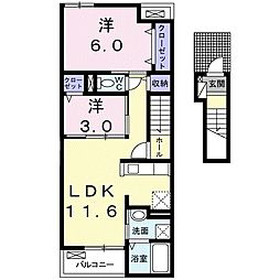 愛知県稲沢市下津寺前町の賃貸アパートの間取り