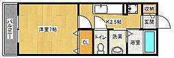 京都府京田辺市三山木柚ノ木の賃貸アパートの間取り