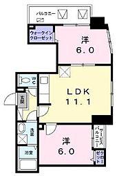 東京メトロ東西線 葛西駅 徒歩10分の賃貸マンション 4階2LDKの間取り
